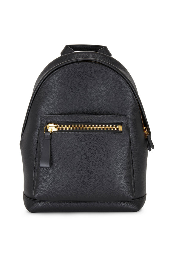 Tom Ford Buckley Black Grained Leather Backpack