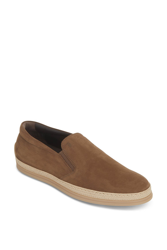 Tod's Tan Textured Suede & Raffia Loafer