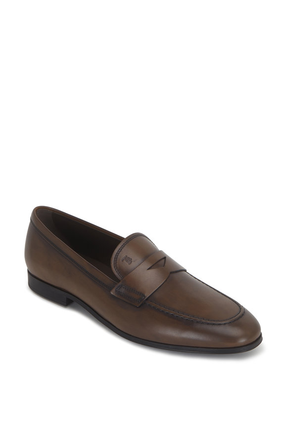 Tod's Light Brown Burnished Leather Penny Loafer