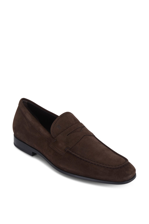 Tod's Gomma Dark Brown Suede Penny Loafer