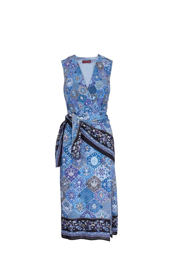 Altuzarra Blue Silk Floral Wrap Waist Dress