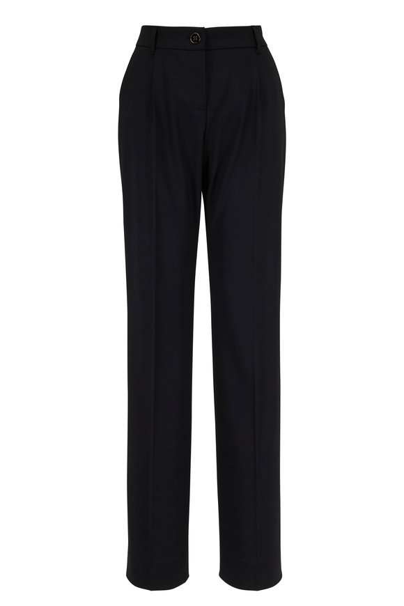 Black Stretch Wool Straight Leg Pant