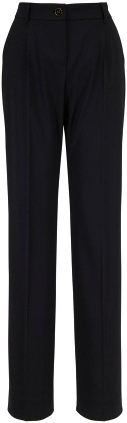 Dolce & Gabbana Black Stretch Wool Straight Leg Pant