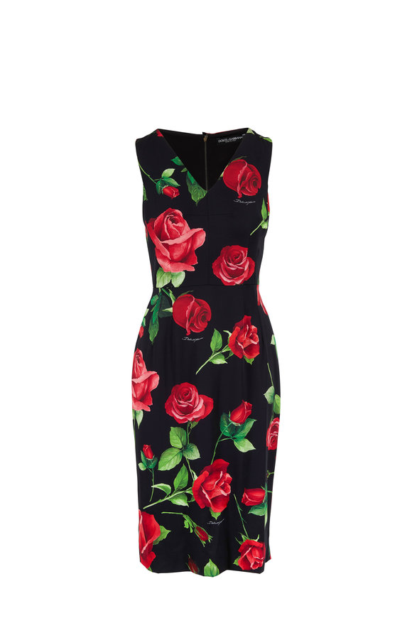 Dolce & Gabbana Black & Red Rose Sleeveless Sheath Dress