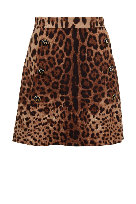 Dolce & Gabbana Leopard Print Wool Button Front Mini Skirt