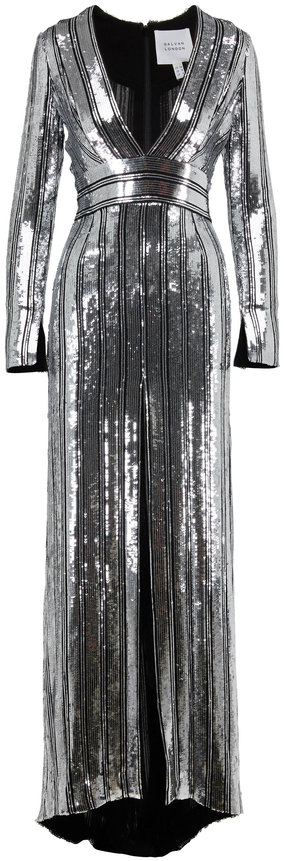 Galvan Silver Sequin Striped Long Sleeve Gown