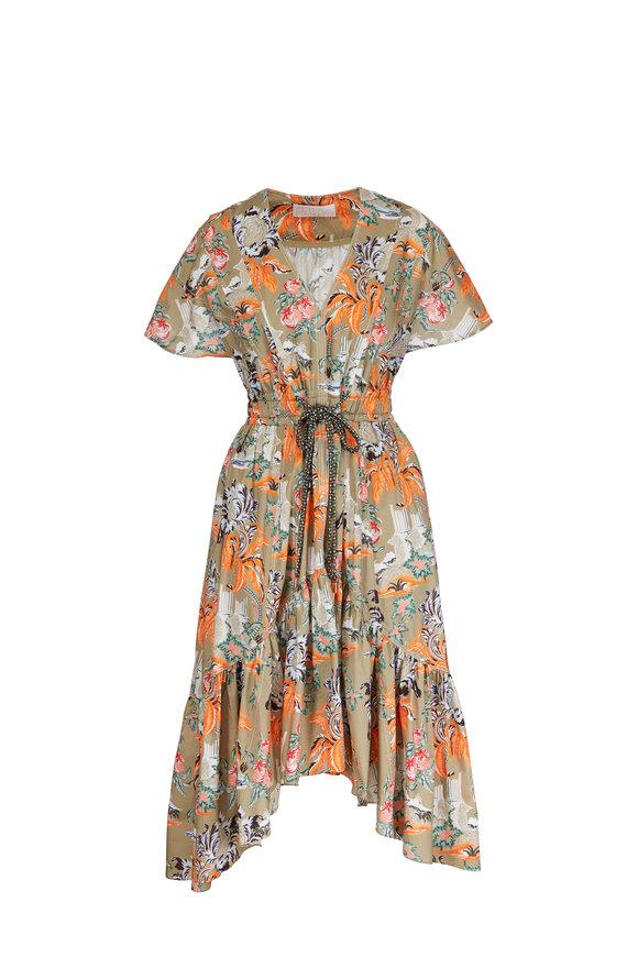Peter Pilotto Khaki Cotton Floral Short Sleeve Gathered Dress