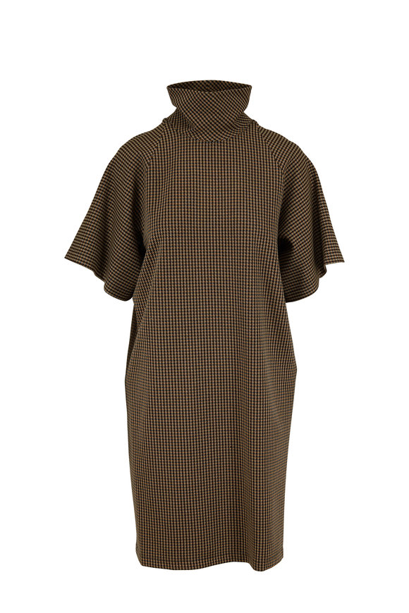 Rosetta Getty Camel Houndstooth Cocoon Turtleneck Dress