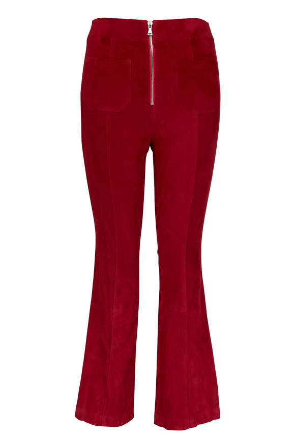 SPRWMN LLC Red Suede Front-Zip Flare Legging