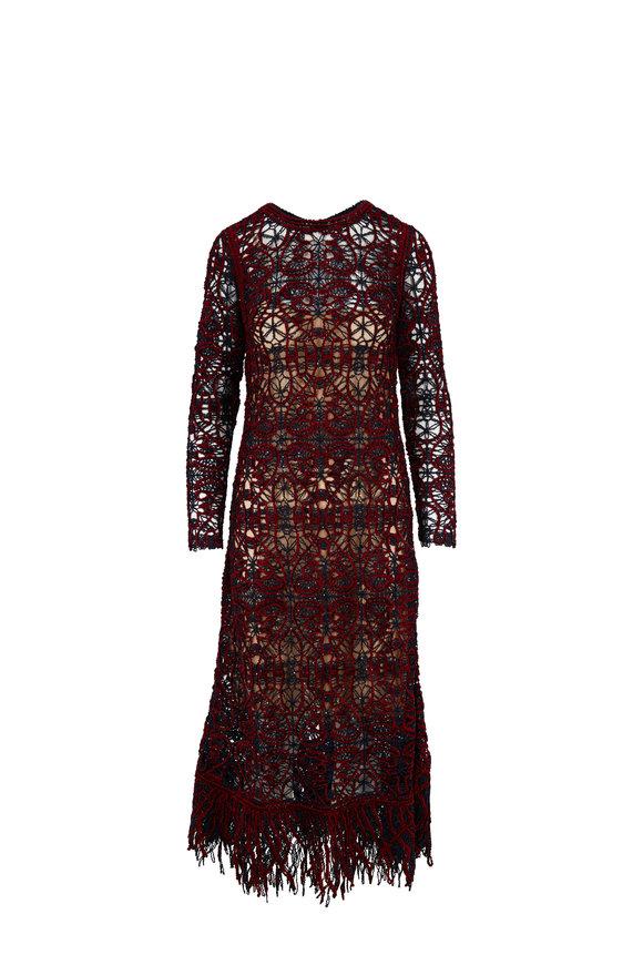 Oscar de la Renta Navy & Claret Crochet Lace Long Sleeve Dress