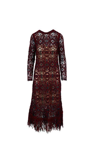 Oscar de la Renta - Navy & Claret Crochet Lace Long Sleeve Dress