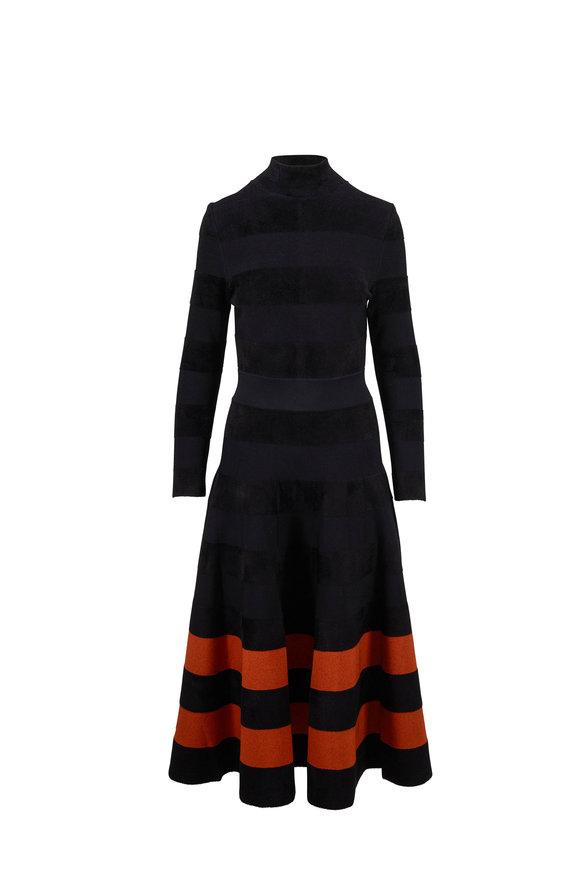 Oscar de la Renta Black & Cumin Stripe Hem Long Sleeve Knit Dress