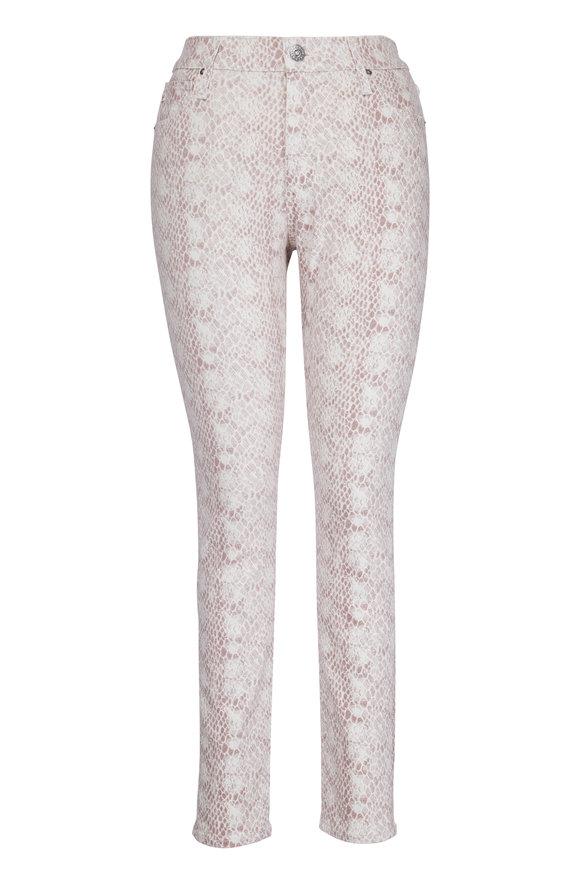 AG - Adriano Goldschmied Farrah Ivory & Pink Snakeskin Jean