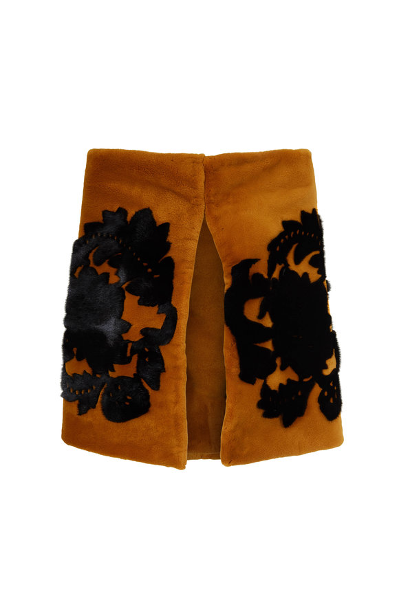 Oscar de la Renta Furs Saffron Dyed Sheared Mink & Black Floral Stole