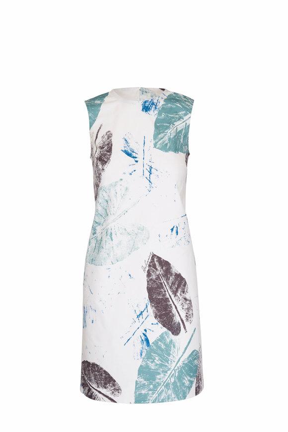 Carolina Herrera Ivory & Blue Leaf Sleeveless Shift Dress