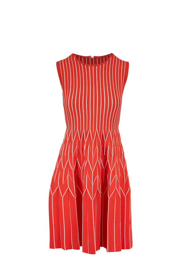 Lela Rose Coral Pleated Skirt Sleeveless Knit Dress