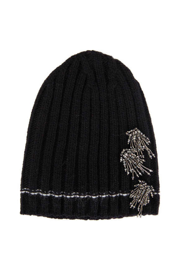 Dorothee Schumacher Faithful Escape Black Ribbed Embellished Beanie