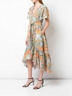 Peter Pilotto - Khaki Cotton Floral Short Sleeve Gathered Dress