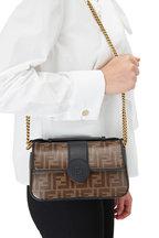Fendi - Double F Black Leather & Embossed Logo Chain Bag