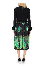 Valentino - Black & Green Lily Of The Valley Pleated Skirt