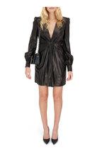 Tom Ford - Black Stretch Leather Deep V-Neck Dress
