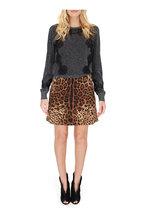 Dolce & Gabbana - Leopard Print Wool Button Front Mini Skirt