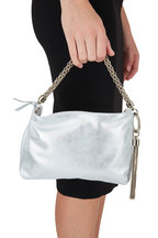 Jimmy Choo - Callie Metallic Silver Suede Evening Bag