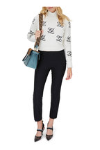 Fendi - White Karligraphy Embroidered Crop Sweater