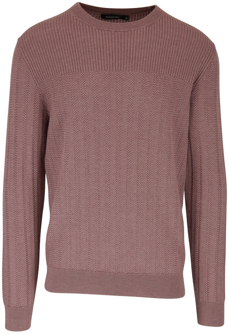 Ermenegildo Zegna Pink Wool & Silk Cable Knit Sweater