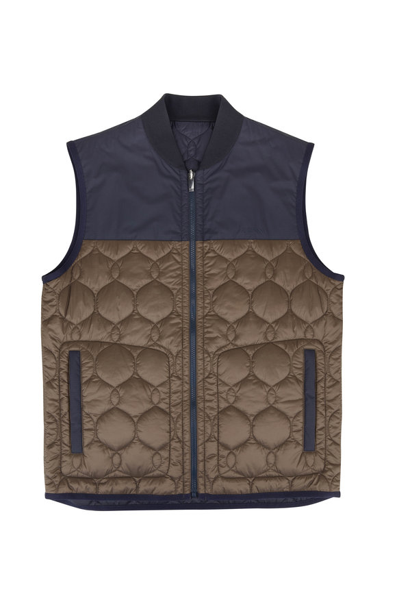 Z Zegna  Tan & Navy Reversible Tech Quilted Vest