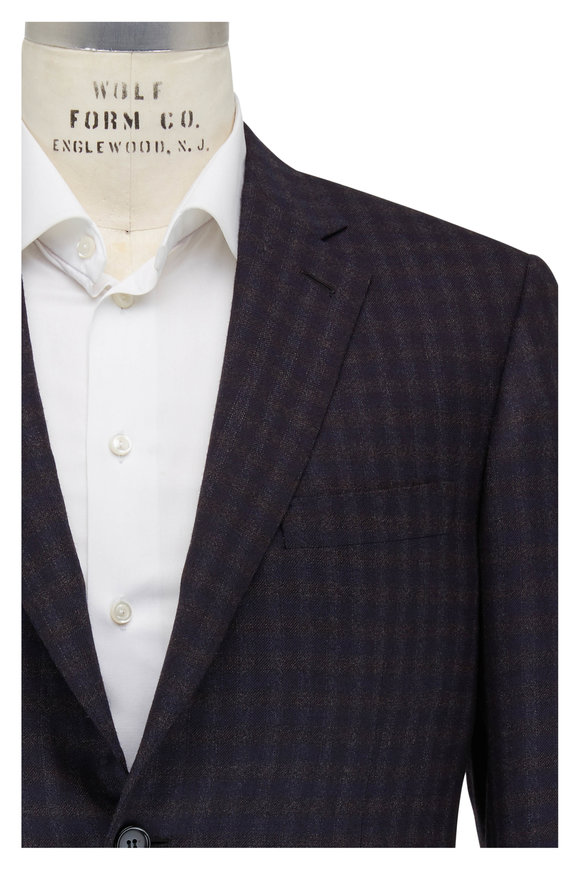 Brioni Navy Blue & Graphite Plaid Wool Sportcoat