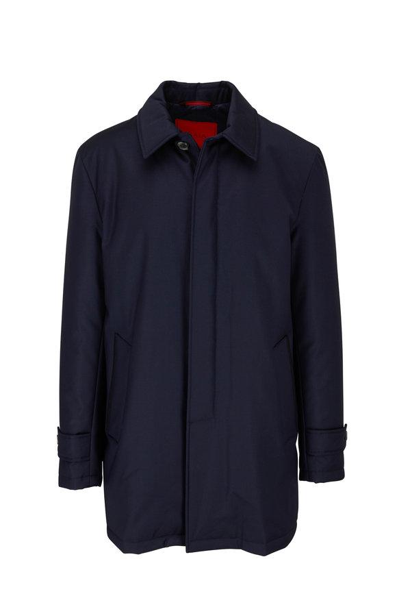Isaia Navy Blue Tech Wool Overcoat