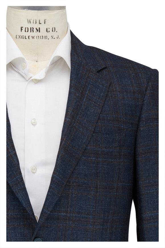 Teal & Brown Wool Windowpane Sportcoat
