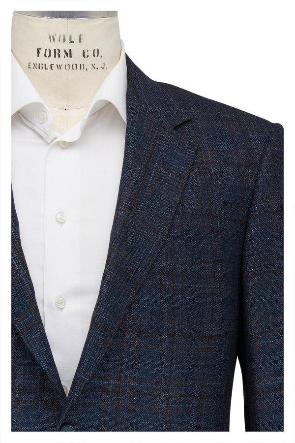 Canali Teal & Brown Wool Windowpane Sportcoat