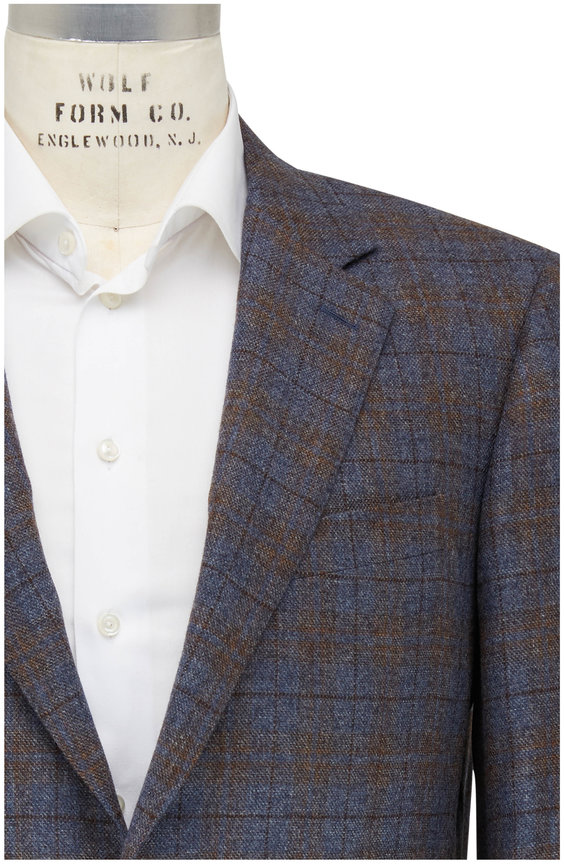 Canali Taupe & Brown Windowpane Sportcoat