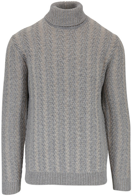 Maurizio Baldassari Light Gray Cabled Cashmere Turtleneck