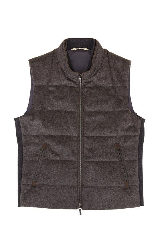 Maurizio Baldassari Mushroom Quilted Cashmere Vest