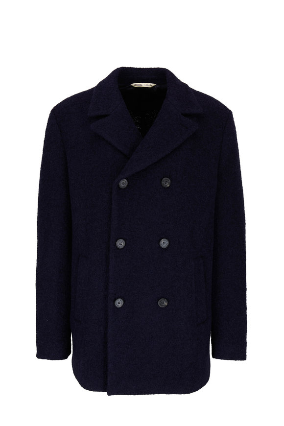 Maurizio Baldassari Navy Wool & Cotton Double-Breasted Peacoat
