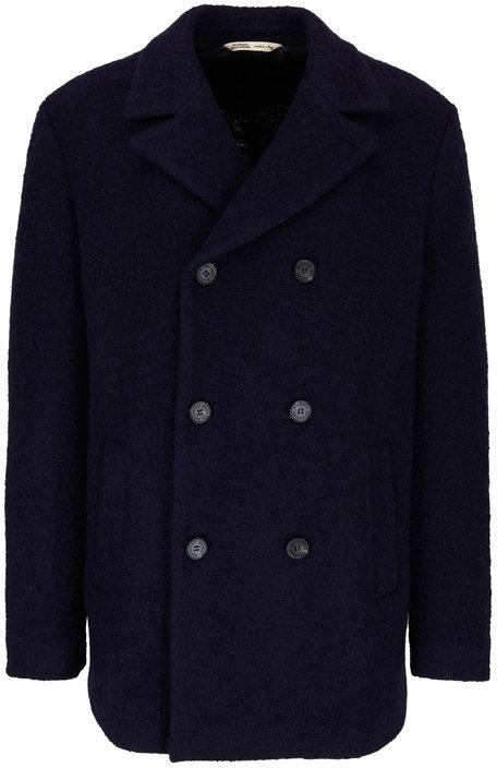 Maurizio Baldassari Navy Wool & Cotton Double-Breasted Peacoat