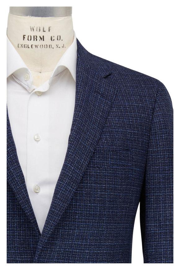 Samuelsohn Navy Textured Wool Sportcoat