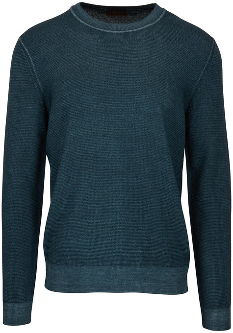 Altea Green Waffle Knit Merino Wool Sweater