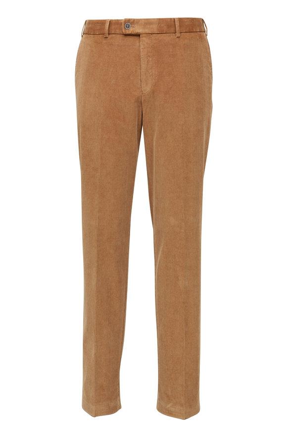 Hiltl Khaki Corduroy Flat Front Pant