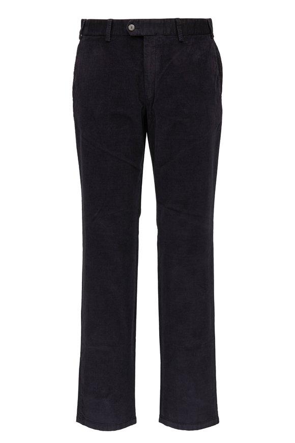 Hiltl Charcoal Textured Velvet Flat Front Pant