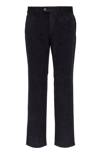 Hiltl - Charcoal Textured Velvet Flat Front Pant