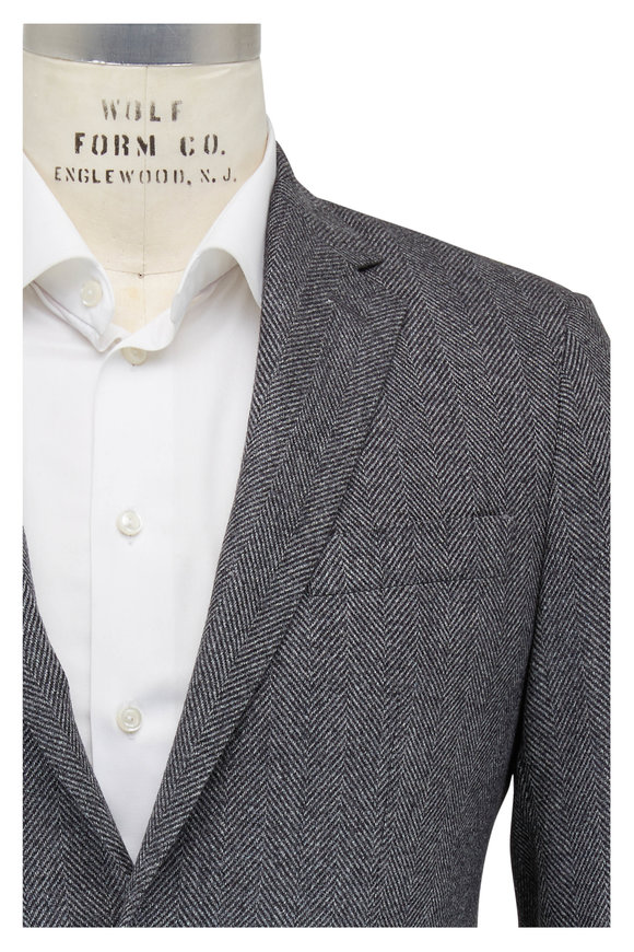 Atelier Munro Light Gray & Black Herringbone Sportcoat