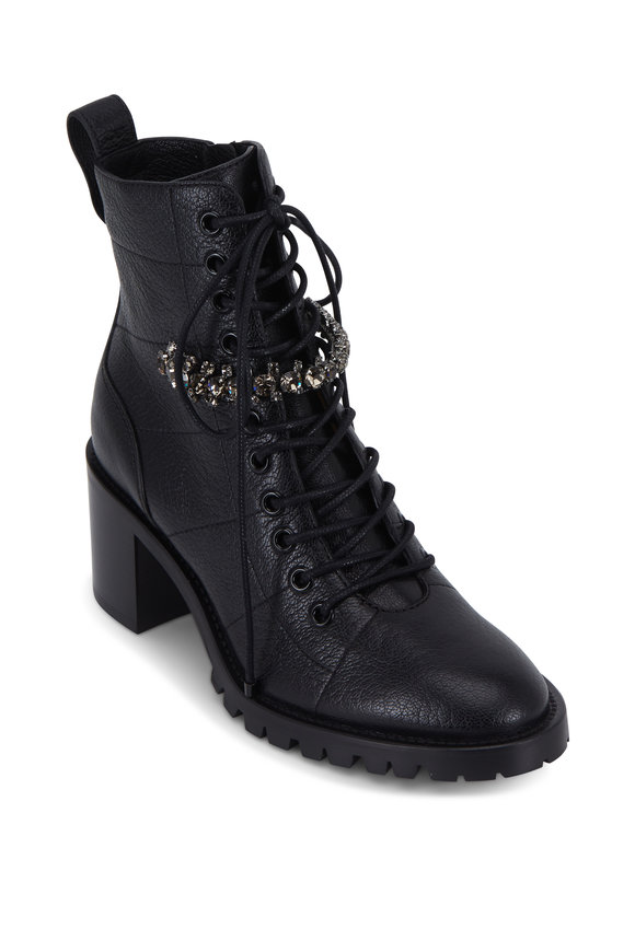 Jimmy Choo Cruz Black Crystal Detail Combat Boot, 65mm