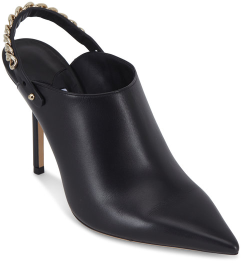 Jimmy Choo Lexx Black Leather Chain Slingback Mule, 100mm