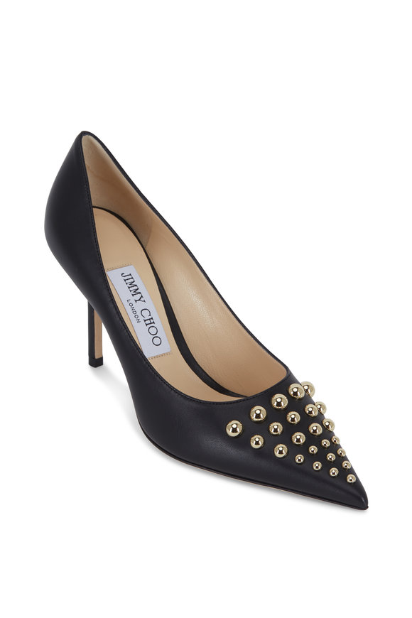 Jimmy Choo Love Black Leather Gold Studded Pump, 85mm