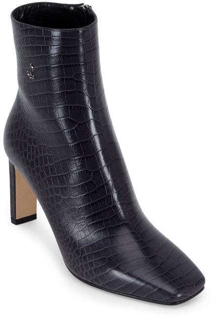 Jimmy Choo Minori Dusk Croc Embossed Leather Ankle Boot, 85mm