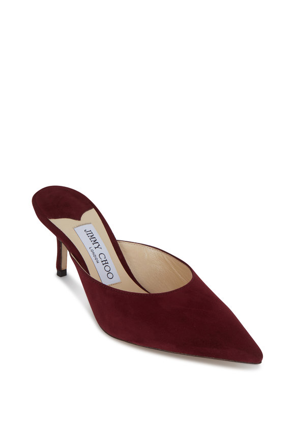 Jimmy Choo Rav Bordeaux Suede Mule, 65mm